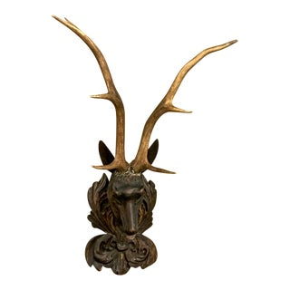 Carved Black Forest Stag Head Mount With Antlers For Sale