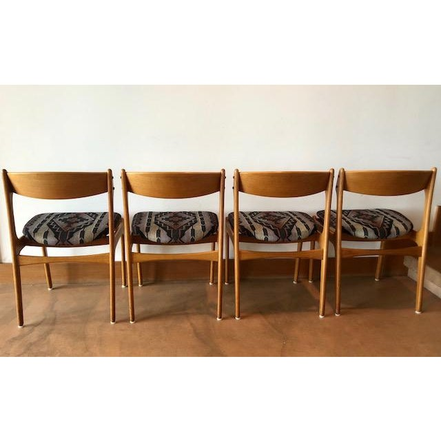 Mid-Century Upholstered Teak Chairs - Set of 4 For Sale In San Francisco - Image 6 of 8