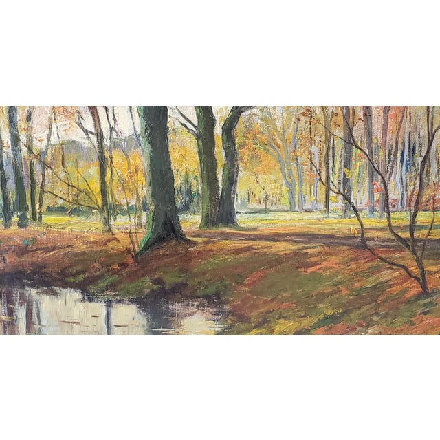 Canvas Late 19th Century Lumious Forest Landscape Oil Painting by Hm Savry For Sale - Image 7 of 10