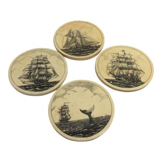 Vintage Faux Scrimshaw Whaling Ship Coasters - Set of 4