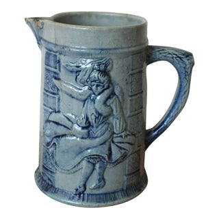 Antique Blue Salt Glaze Pitcher For Sale