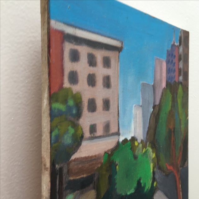 Vintage Painting of a Cityscape, Urban Highrise - Image 10 of 11