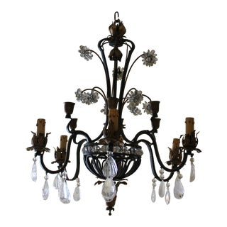 French Art Deco Maison Bagues Iron With Rock Crystal Chandelier For Sale