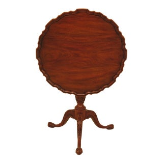 1990s Chippendale Henkel Harris Ball & Claw Mahogany Tilt Top Table For Sale