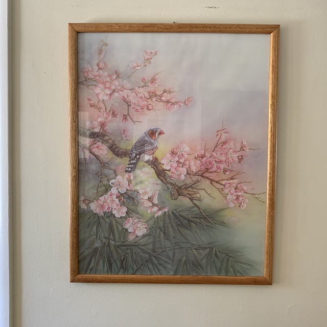 Turquoise Large Vintage Watercolor Pastel Bird & Cherry Blossom Wall Art For Sale - Image 8 of 10