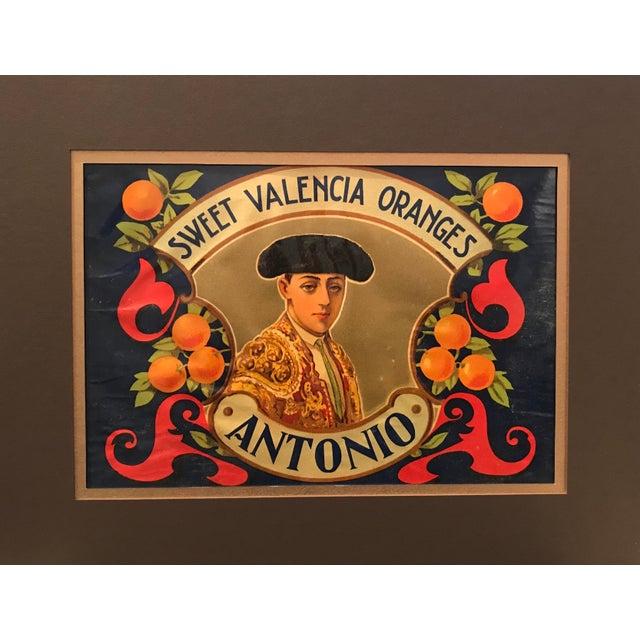 1920's Original Vintage Spanish Fruit Crate Label - Antonio - Sweet Valencia Oranges For Sale - Image 4 of 4