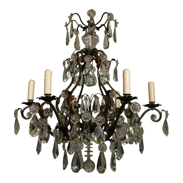 Antique Chandelier of Iron and Crystal - Image 1 of 6