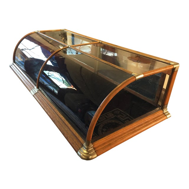 Antique Mercantile Curved Glass Display Case For Sale