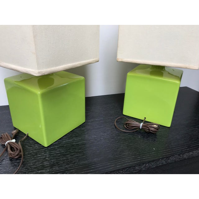 Mid Century Chartreuse Green Glaze Ceramic Table Lamps - a Pair For Sale - Image 10 of 13