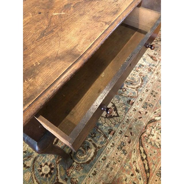 Wood Antique English Farmhouse Mahogany Writing Table For Sale - Image 7 of 13