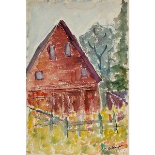 Red House With Picket Fence and Colorful Plants Watercolor Landscape Painting, Circa 1950s For Sale