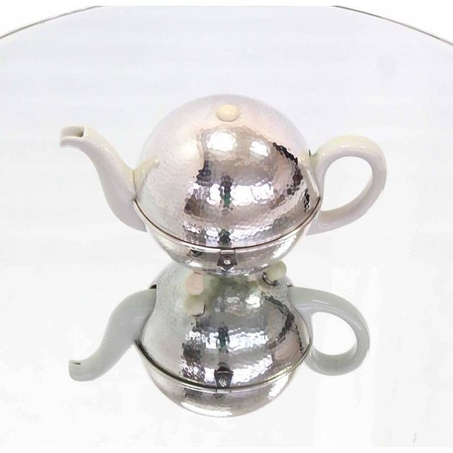 Metal WMF Porcelain Tea Pot in Hammered Metal Insulated Cover For Sale - Image 7 of 10