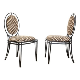 Upholstered Oval Back Chairs - a Pair For Sale