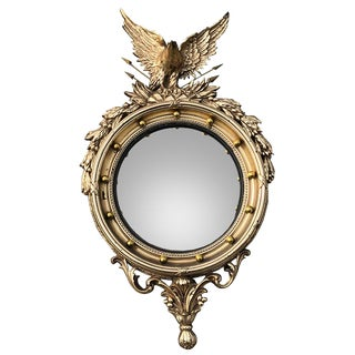 Oversize Gold Round 1950s Early Americana Federal Admiral Eagle Convex Mirror For Sale