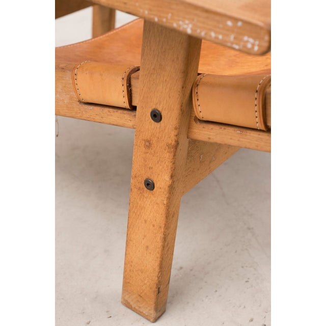 Brown Pair of Kurt Ostervig Hunting Chairs in Oak and Leather, Denmark 1960s For Sale - Image 8 of 11
