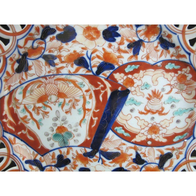 Japanese Hand Painted Japanese Imari Pierced Dish Plate With Fan & Floral Design For Sale - Image 3 of 5