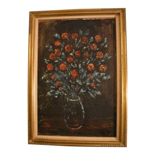 1960s Vintage Midge Karr Roses Still Life Painting For Sale