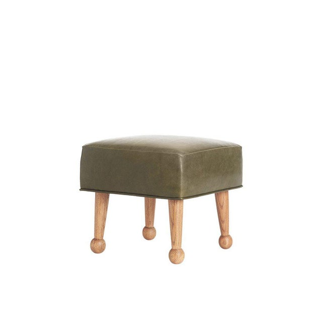Sabin Mulholland Olive Green Leather Ottoman - Image 3 of 5