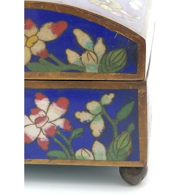 Blue Antique Chinese Cloisonne Box For Sale - Image 8 of 11