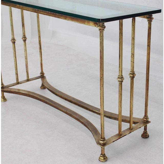 Gold Gild Iron Base Glass Top Console Table For Sale - Image 4 of 9