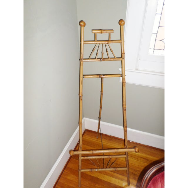 "This is a Antique Victorian Bamboo Floor Size Easel Stand Display Picture Stand Easel with Chain that is 59"" tall and 23""..."