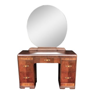 1930's Art Deco Waterfall Style Vanity and Mirror - 2 Pieces For Sale