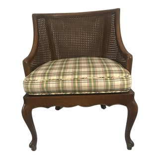 Vintage Mid Century Cane Back Barrel Chair Accent Chair For Sale