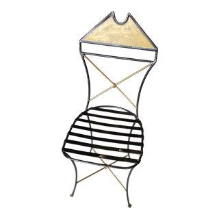 Geometric Handmade Artisan Gilded Ebonized Chair** For Sale