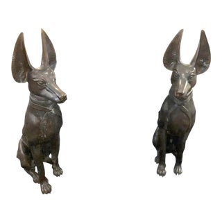 Bronze Egyptian Dog Statues - A Pair For Sale