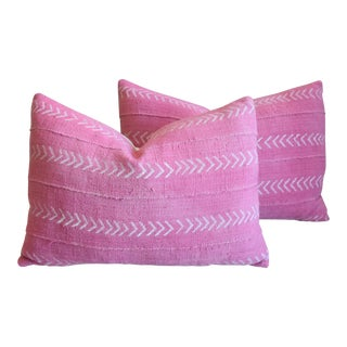 "Boho Chic Pink Mud Cloth & Velvet Feather/Down Pillows 23"" X 18"" - Pair For Sale"