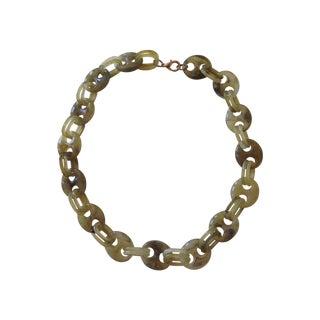 Olive Green Jadite Bakelite Links Necklace