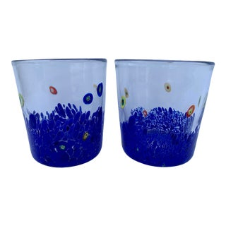 Millefiore Double Old Fashioned Glasses- a Pair For Sale