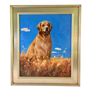 Contemporary Golden Retriever Dog Portrait Oil Painting For Sale