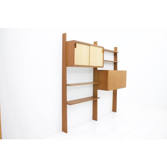 Wood Dieter Waeckerlin Teak Shelf With Seagrass Sliding Doors With a Bar or Desk, 1950s For Sale - Image 7 of 10