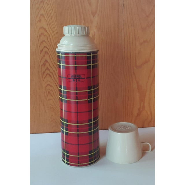 Vintage Red Plaid Thermos For Sale - Image 6 of 6