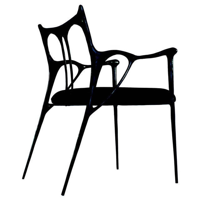 Black Black Brass Sculpted Brass Chair, Misaya For Sale - Image 8 of 8