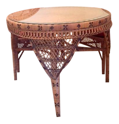 Round Glass Top Rattan Table