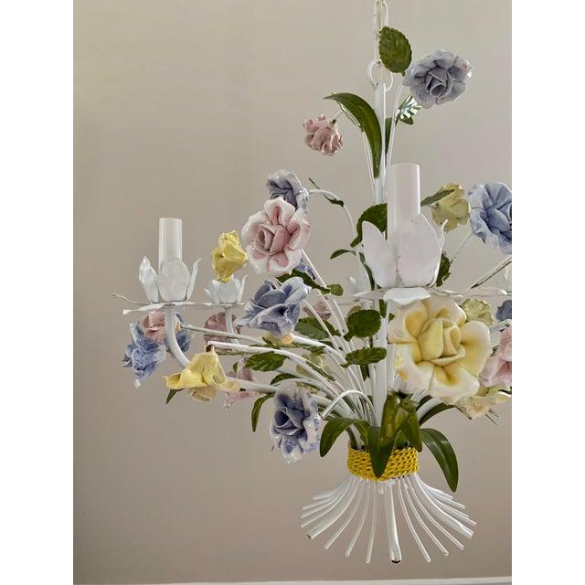 1950s Vintage Ca 1950s Italian Tole 6 Arms Chandelier & Porcelain Rosebuds Flowers For Sale - Image 5 of 13