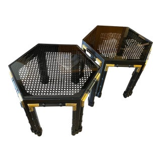Faux Bamboo Hexagon Side Table For Sale