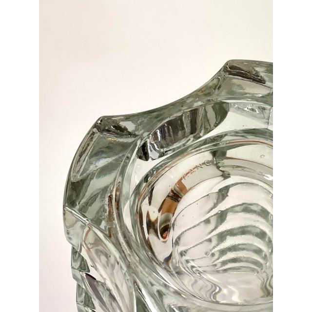 Late 20th Century Vintage Art Deco Geometric Pattern Heavy Cut Crystal Luminarc France Art Glass Windsor Vase For Sale - Image 5 of 7