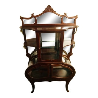 Antique Victorian Etagere Curved Glass Cabinet For Sale