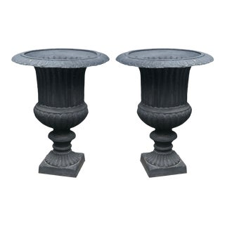 Vintage Black Cast Iron Neoclassical Urn Planters - a Pair For Sale