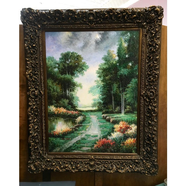 Large Impressionist Style Landscape Oil Painting - Image 2 of 7