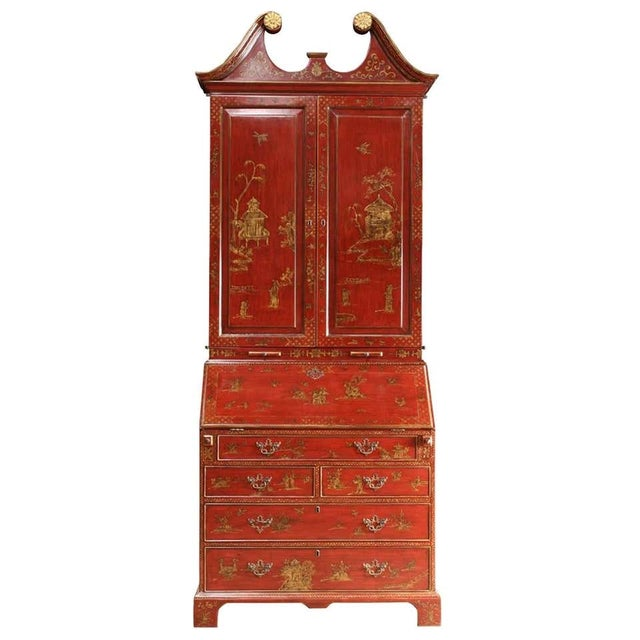 Wine Mid 20th Century George III Style Chinoiserie Red Lacquered Secretary Bookcase For Sale - Image 8 of 8