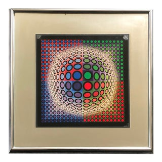 Vintage Abstract Op Art Victor Vasarely For Sale