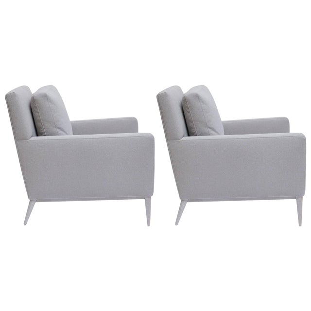 Restored Paul McCobb Bleached Walnut Lounge Chairs for Directional - a Pair For Sale