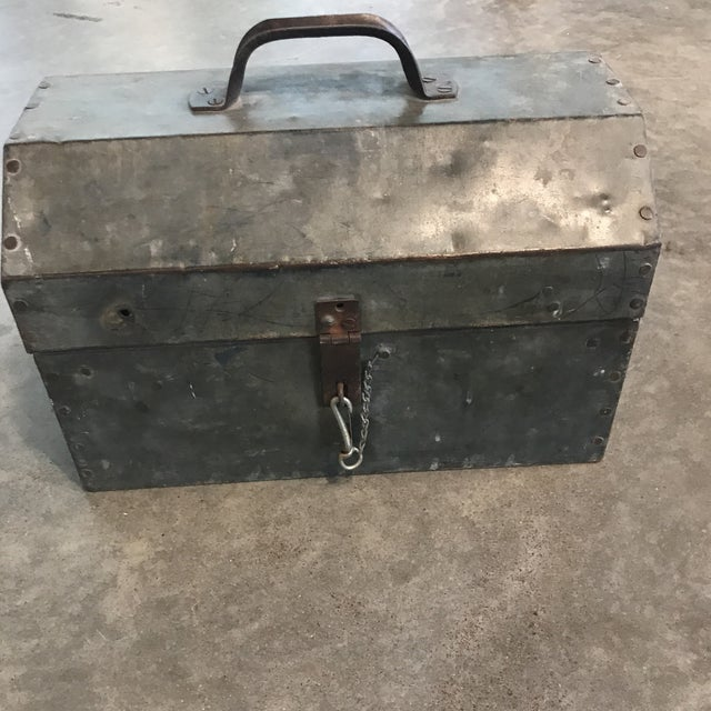 1960s Vintage Metal Locking Tool Box For Sale - Image 5 of 5