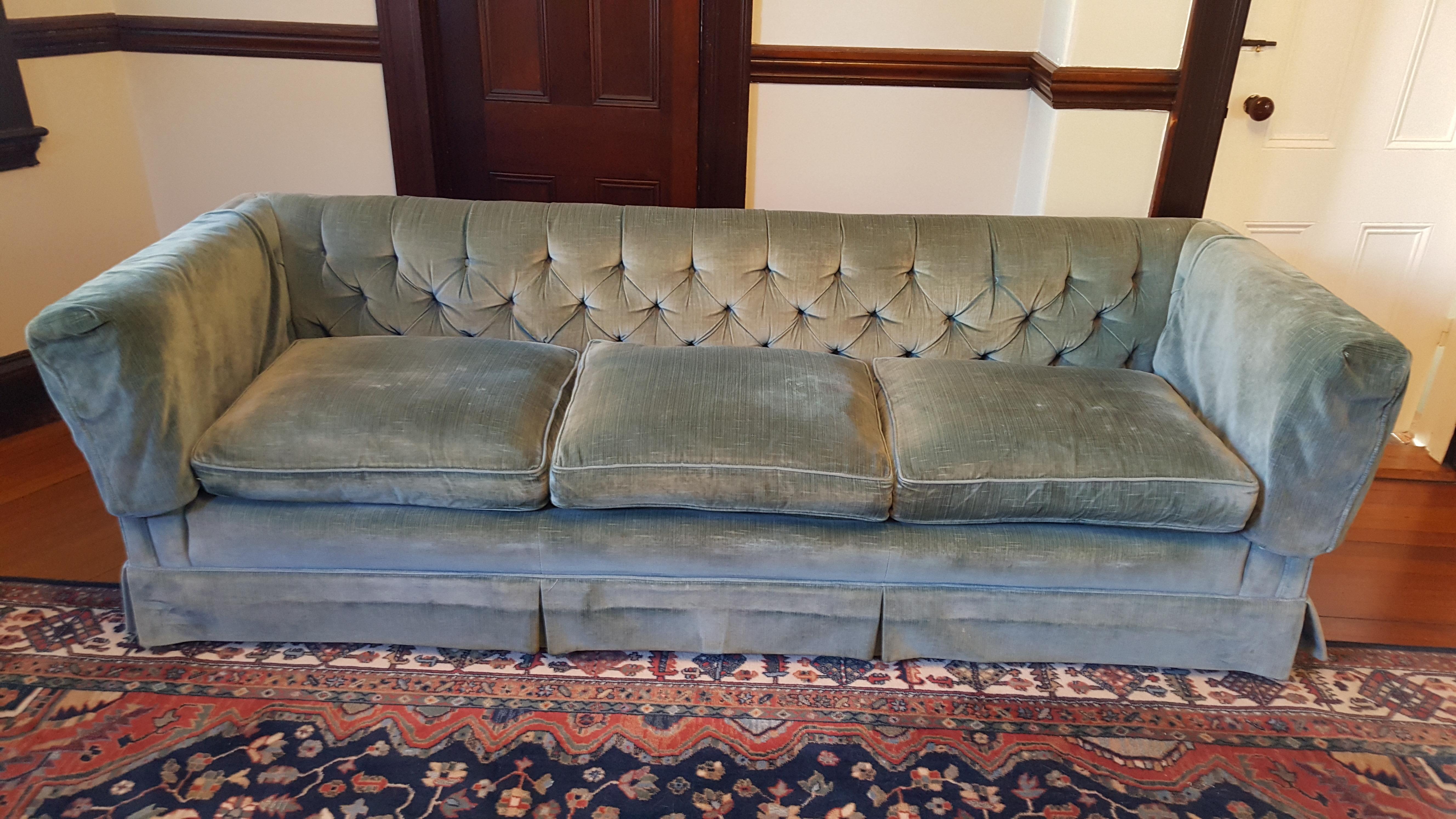 Henredon Teal Velvet Sofa   Image 2 Of 4