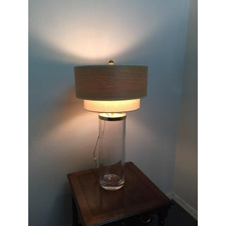 1980s Vintage Modern Chapman Heavy Glass Cylinder Modern Table Lamp Preview
