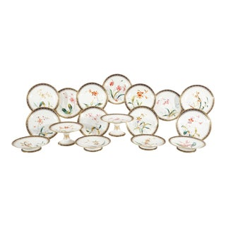 Brownfield Aesthetic Movement Dessert Service with Hand-Painted Orchid For Sale